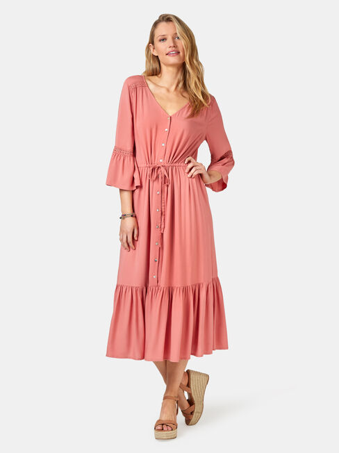 Willow Peasant Dress, Red, hi-res
