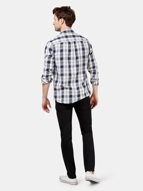 LS Owen Check Shirt, White, hi-res