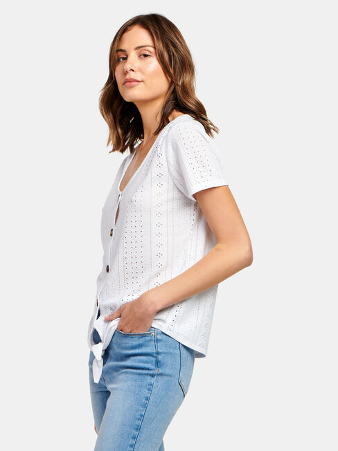 Lacey Lace Tee, White, hi-res