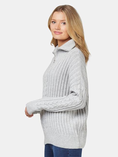 Ziggy Zip Front Pullover, Grey, hi-res