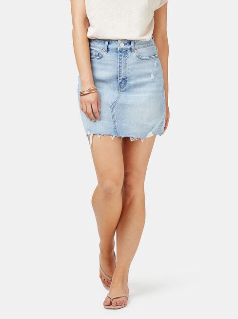 Simone Distressed Denim Skirt