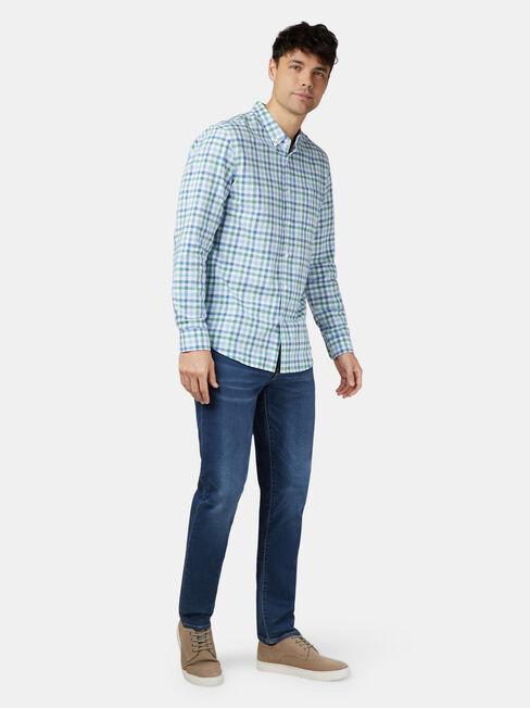 Harry Long Sleeve Check Shirt, Green, hi-res