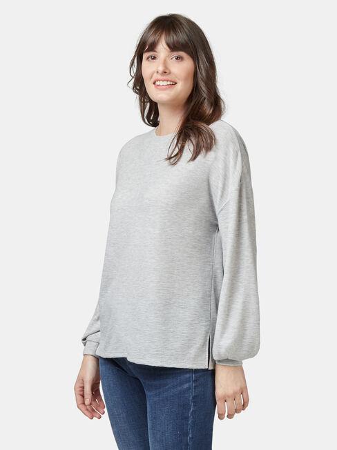 Ella Drop Shoulder Textured Top, Grey, hi-res