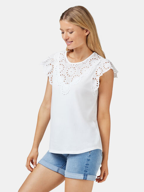 Parker Broderie Tee, White, hi-res