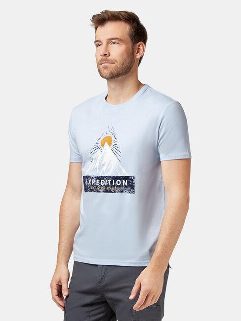 Winston Short Sleeve Print Crew Tee, Blue, hi-res