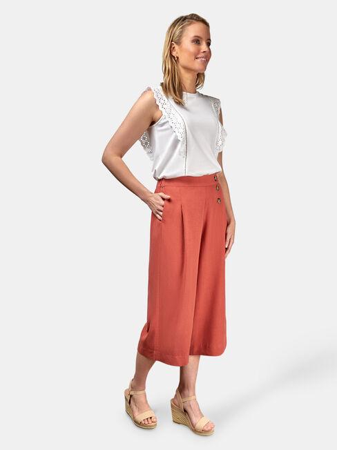 Naomi Wide Leg Crop Pant, Orange, hi-res