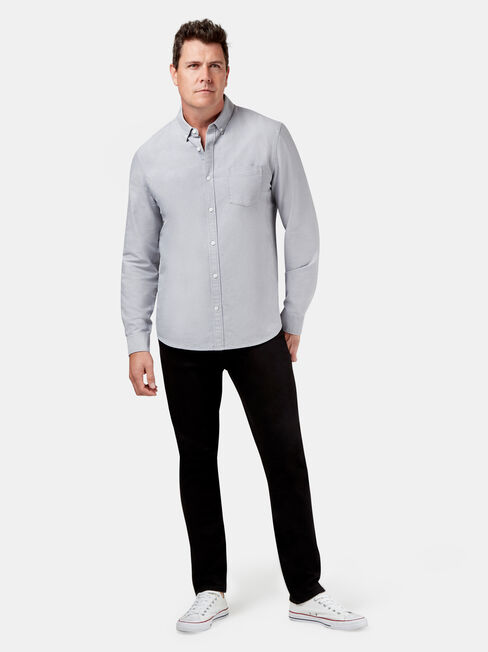 Peyton Long Sleeve Oxford Shirt, Grey, hi-res