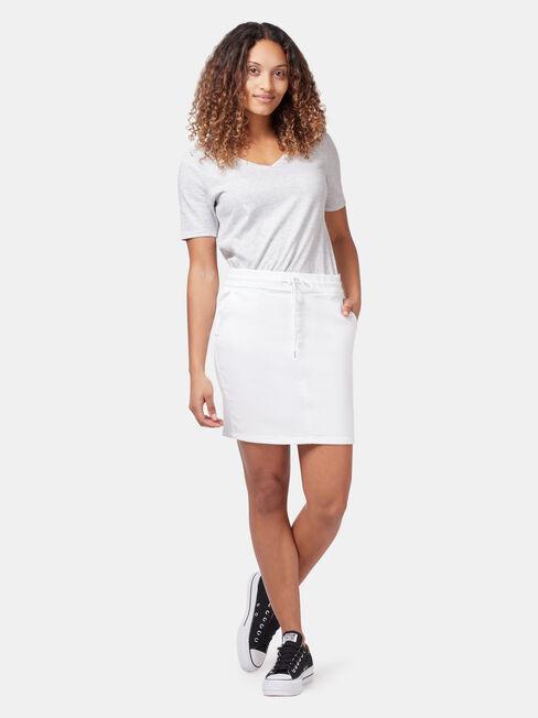 Hana Luxe Lounge Skirt, White, hi-res