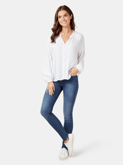 Emma Embroidered Blouse, White, hi-res