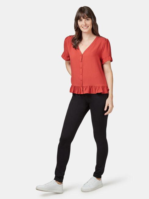 Natasha Button Through Top, Red, hi-res