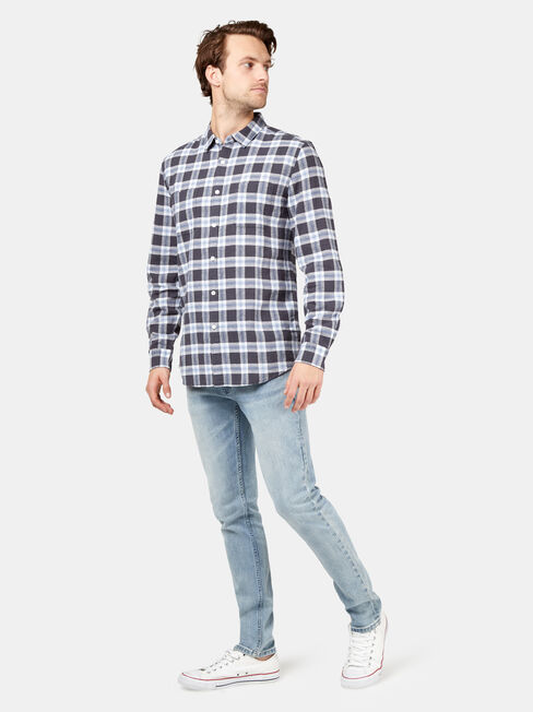 Burt Long Sleeve Check Shirt, Blue, hi-res