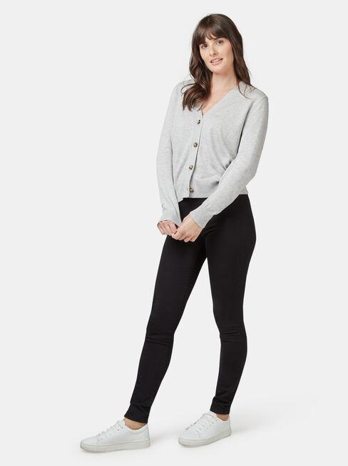 Ava Cropped Cardi, Grey, hi-res
