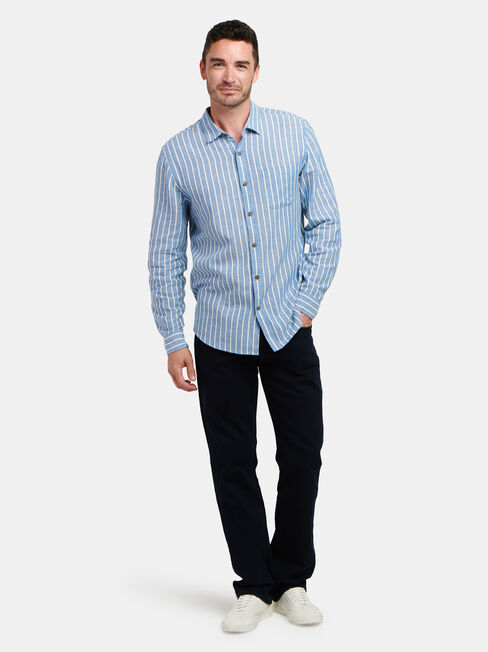 Ronnie Long Sleeve Stripe Shirt, Blue, hi-res