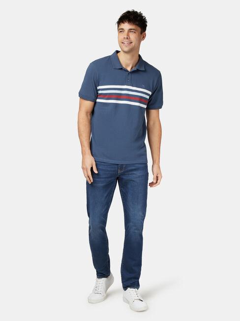 Darcy Short Sleeve Panel Stripe Polo, Blue, hi-res