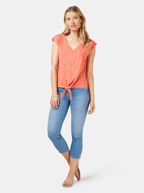 Natalie Palm Broderie Tee, Orange, hi-res