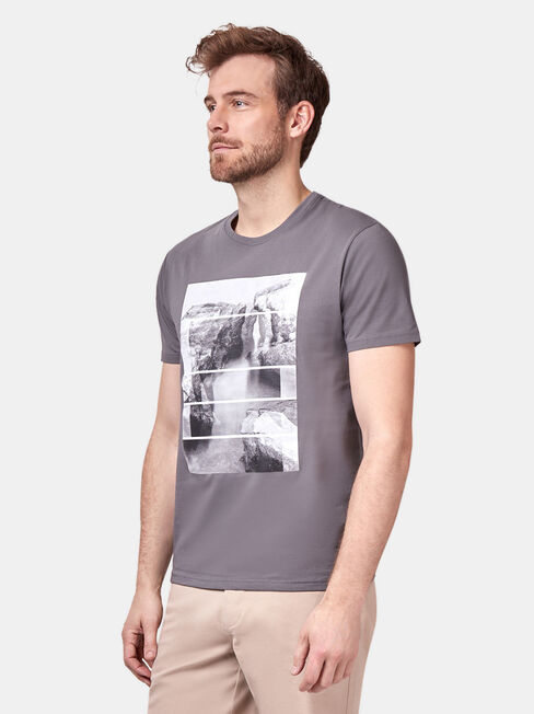 Mike Short Sleeve Print Crew Tee, Grey, hi-res