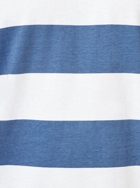 Mars Short Sleeve Stripe Crew Tee, Blue, hi-res