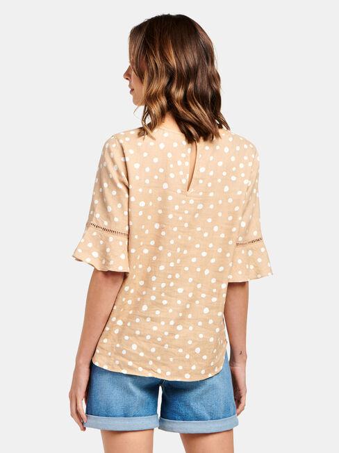 Core Linen Blend Top, Brown, hi-res