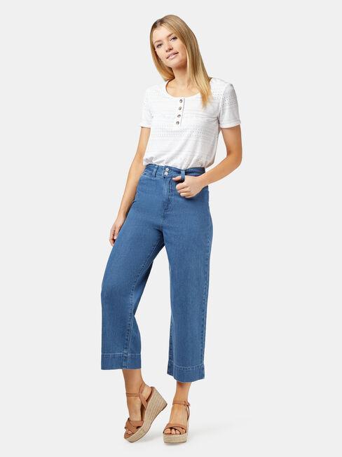Cara Double Button Wide Leg Jean, Mid Indigo, hi-res