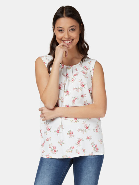 Emily Pleat Front Top, White, hi-res
