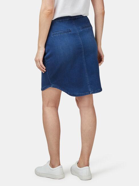 Lulu Luxe Lounge Knee Length Skirt, Mid Indigo, hi-res