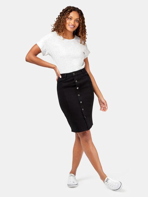 Macy Button Through Skirt, Black, hi-res