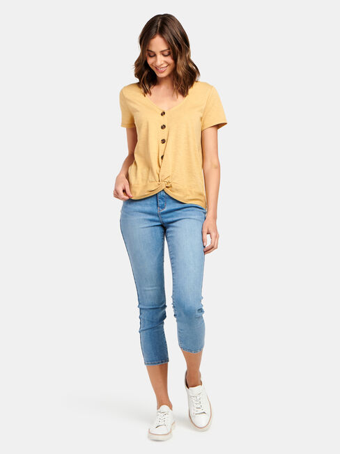Byron Button Front Top, Yellow, hi-res
