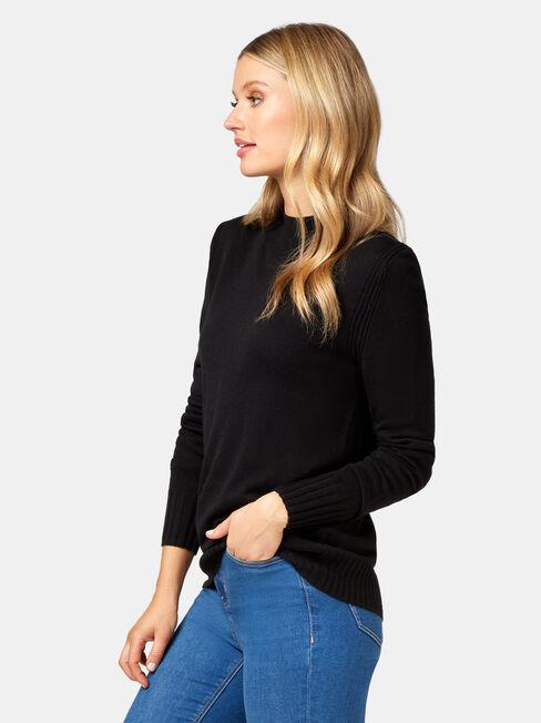 Kara Essential Funnel Neck Pullover, Black, hi-res