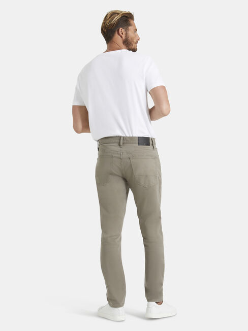 Slim Tapered Jeans Dark Olive, Coloured, hi-res
