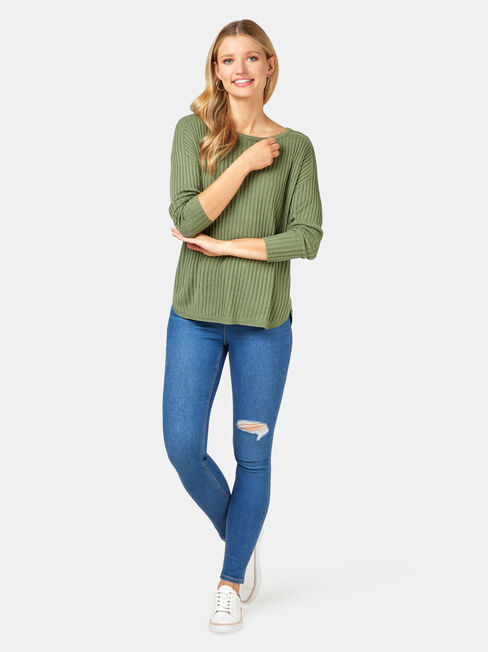 Laura Essential Curve Hem Pullover, Green, hi-res
