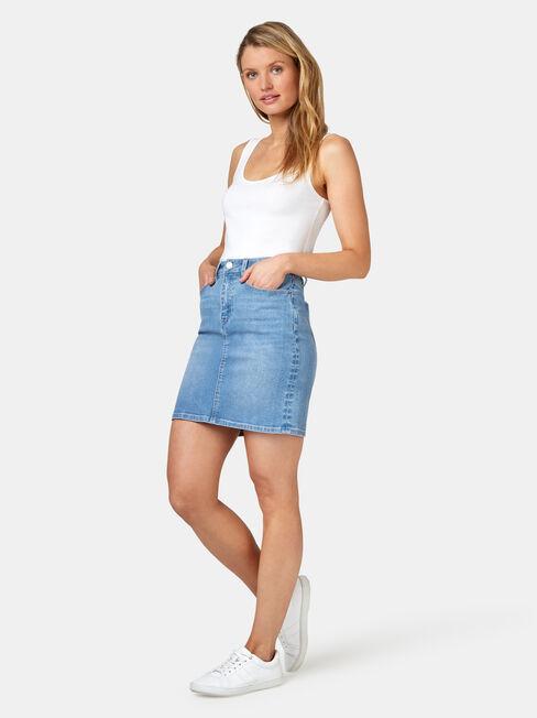 Mariah Classic Denim Skirt, Blue, hi-res