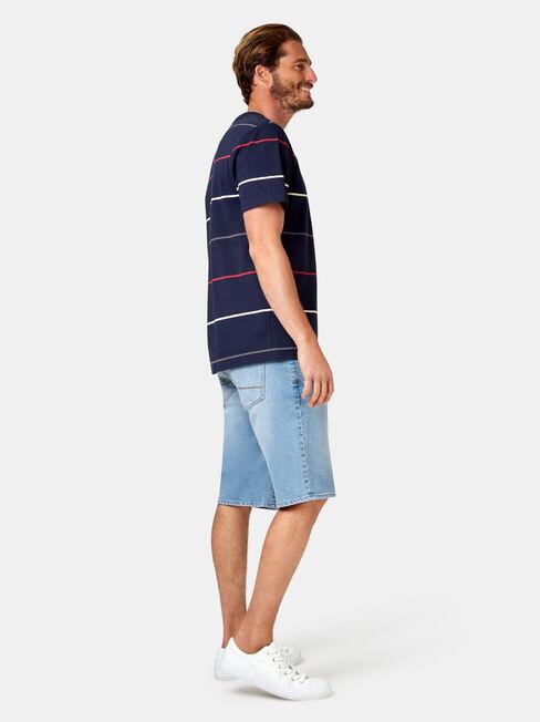 Kingston Short Sleeve Stripe Crew Tee, Blue, hi-res