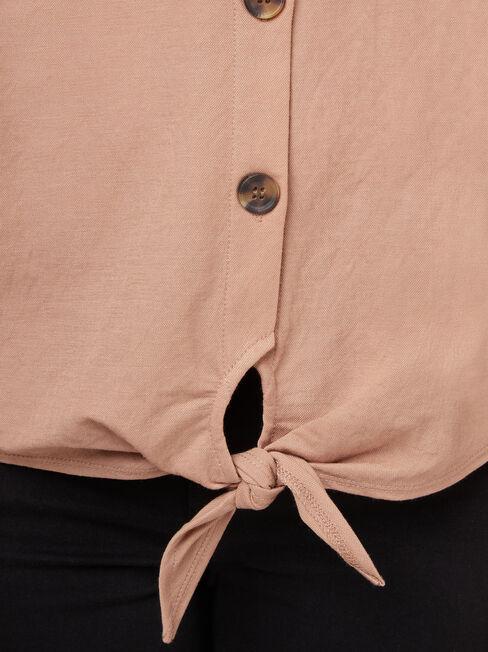 Olivia Button Tie Front Tee, Brown, hi-res