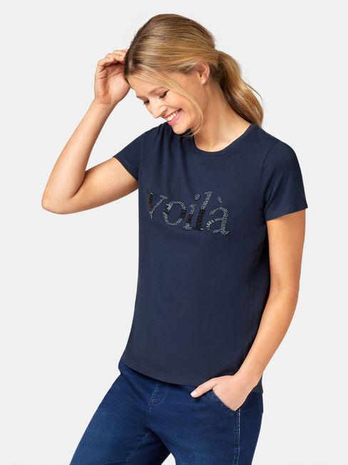 Embellished Slogan Tee, Blue, hi-res