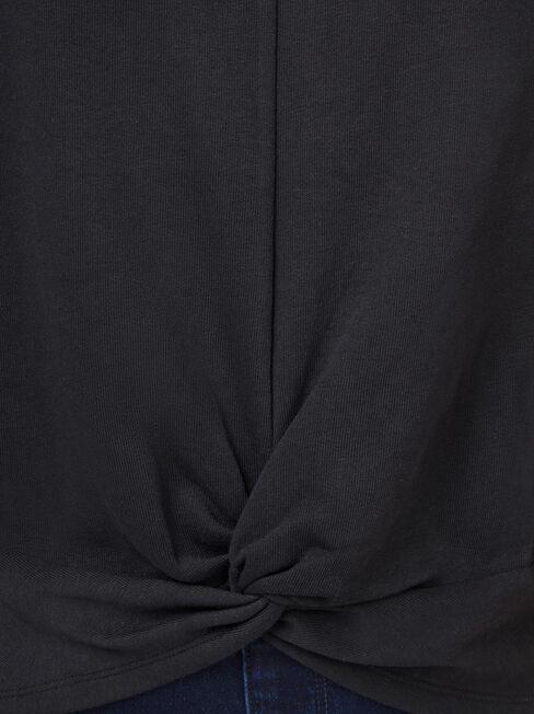 Natasha Twist Front Sweater, Black, hi-res
