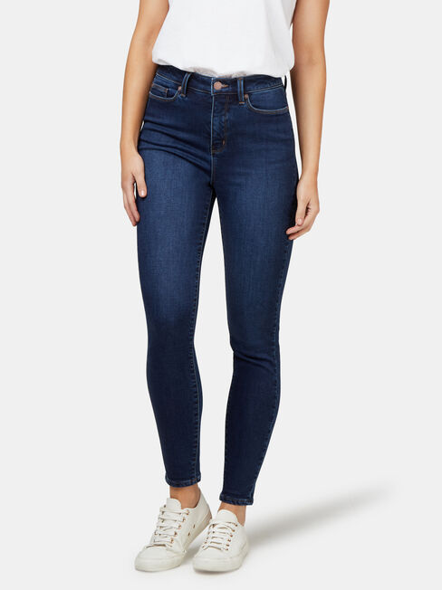Feather Touch High Waisted Skinny 7/8 Jeans Dark Indigo