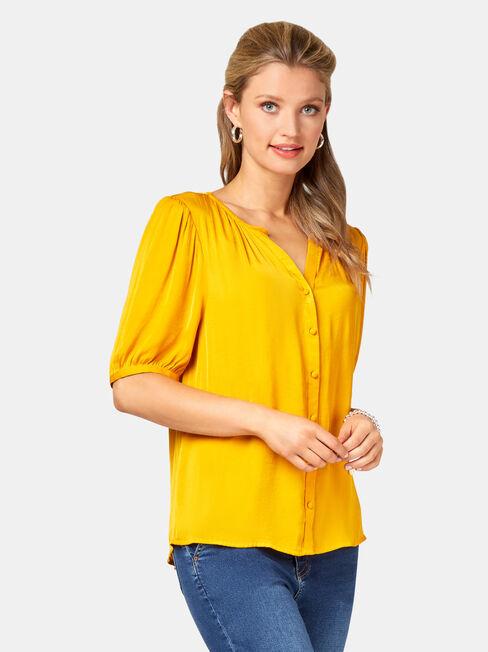 Grace Sandwashed Blouse, Yellow, hi-res