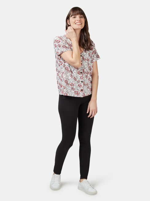 Maddie Button Front Formal Tee, White, hi-res