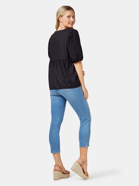 Lilah Broderie Sleeve Blouse, Black, hi-res