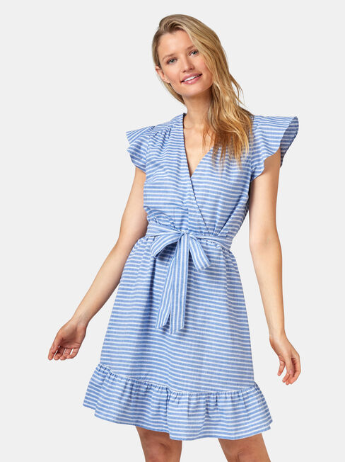 Arianna Ruffle Dress, Stripe, hi-res