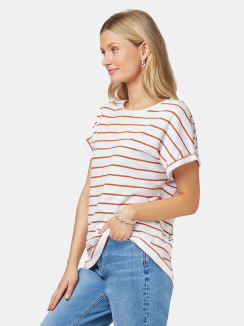 Drop Shoulder Tee, Stripe, hi-res
