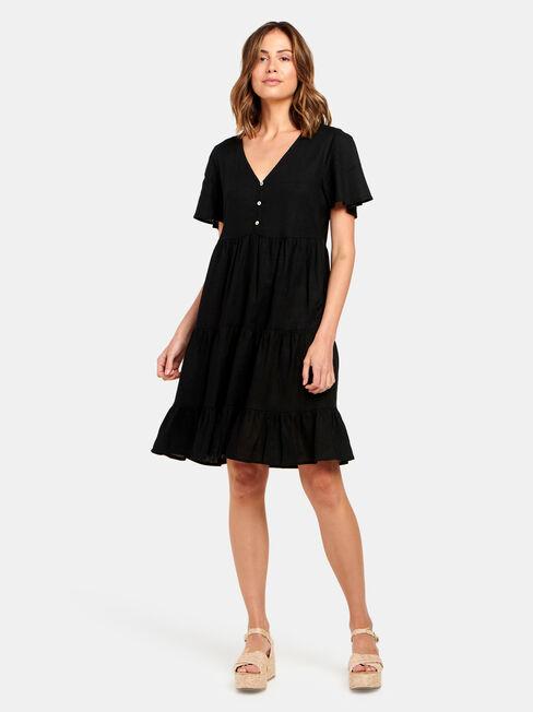 Katie Tiered Dress, Black, hi-res