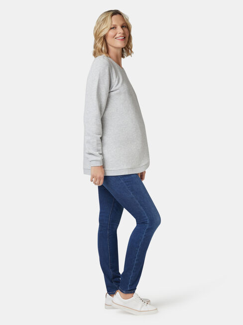 Violet Cross Over Maternity Sweat, Grey, hi-res