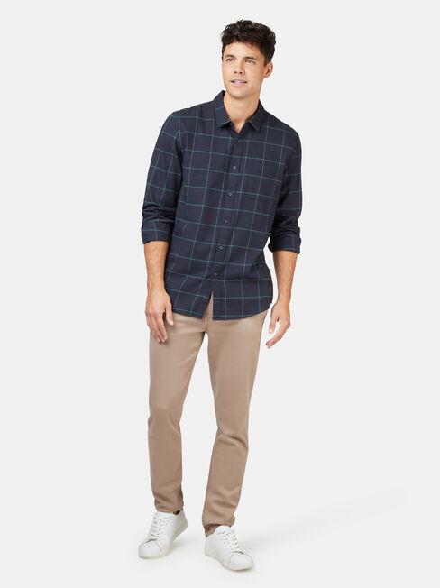 LS Anton Brushed Check Shirt, Blue, hi-res