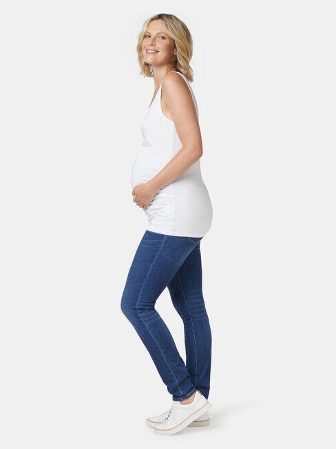 Lola Maternity Cotton Basic Tank, White, hi-res