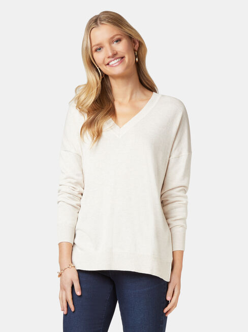 Cassidy Essential V-Neck Pullover, White, hi-res