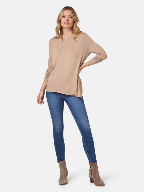 Amy Asymmetrical Hem Soft Touch Pullover, Brown, hi-res
