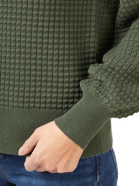 Quinn Bobble Cotton Knit, Green, hi-res