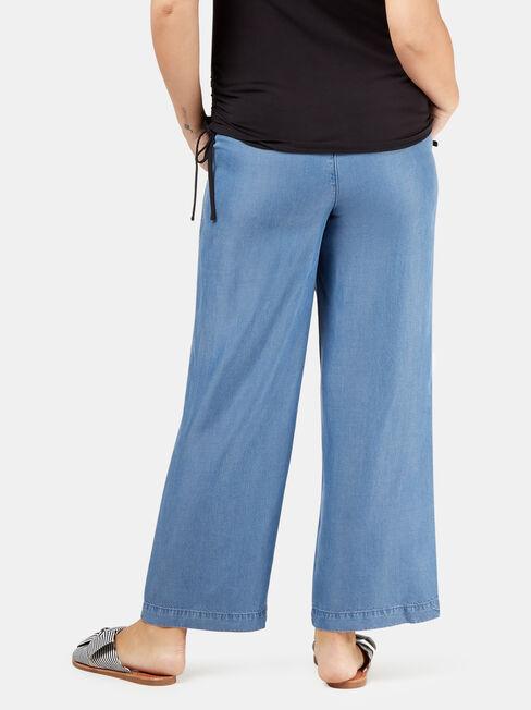 Alana Chambray Maternity Pants, Blue, hi-res
