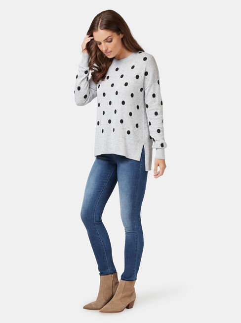 Nia Nep Spot Pullover, Grey, hi-res